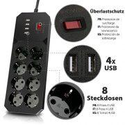 DBPOWER-Multiprise-Parasurtenseur-Parafoudre-8-Prises-avec-4-Ports-USB-Chargeur-et-Cordon-dAlimentation-de-18-Mtres-Compacte-250V4000W-18M-Noir-0-0