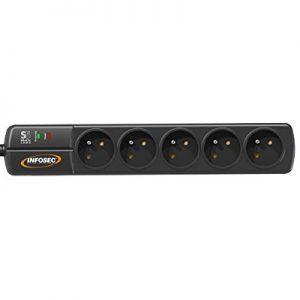 Infosec-S5-Black-Line-II-Multiprise-parafoudre-avec-5-Prises-franaise-Noir-0
