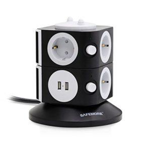 SAFEMORE-Multiprise-ParasurtenseursParafoudre-7-Prises-2-Ports-USB-Protection-Strip-Avec-Cordon-65-FT-pour-Appareils-MnagreNoir-Blanc-0