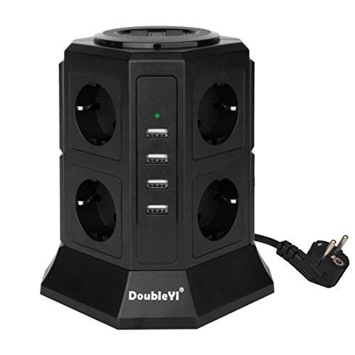 DoubleYI-Tour-Multiprise-Parasurtenseur-Parafoudre-8-Prises-avec-4-USB-45A-Ports-Cordon-de-2m-Noir-Protection-jusqu-1000-joules-0