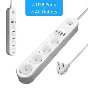 Multiprise-dAlimentation-GLISTENY-Multiprise-Parasurtenseur-parafoudre-4-prises-avec-4-ports-USB-Rallonge-Multiprise-Protection-contre-foudre-Rsistance--la-surcharge-Cble-2-m-Blanche-0