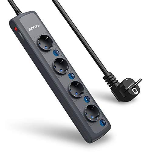 BESTEK-Multiprise-Electrique-4-Prises-EU-avec-4-Interrupteurs-Individuels-Rallonge-Cordon-de-18m-4000W16A-Noir-0