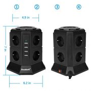 DoubleYI-Tour-Multiprise-Parasurtenseur-Parafoudre-8-Prises-avec-4-USB-45A-Ports-Cordon-de-2m-Noir-Protection-jusqu-1000-joules-0-0