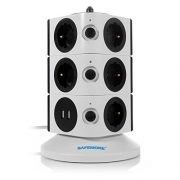 SAFEMORE-Tour-Multiprise-avec-11-Prises-de-Recharge-et-2-Ports-USB-5V-24A-Interrupteur-dalimentation-Adaptateur-Douille-Porte-Scuritaire-2500W10A-Noir-WhiteBlack-0