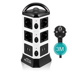 Multiprise-USB-avec-10-Prises-Electrique-et-4-Ports-USB-Tour-Multiprise-Parasurtenseur-Parafoudre-2500W10A-3M-Cble-Noir-et-Blanc-0