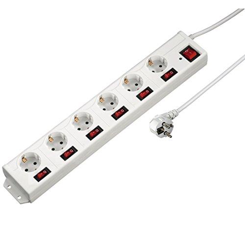 Hama-Multiprise-61-commutable-individuellement-avec-protection-anti-surtension-montage-mural-pivote–90-longueur-de-douille-XL-protection-enfant-longueur-de-cble-de-14-m-Blanc-0
