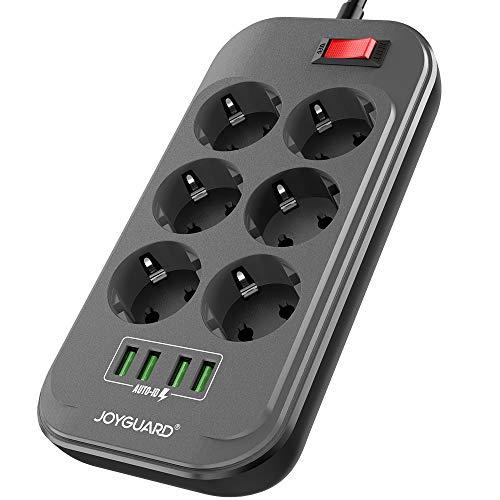 Joyguard-Multiprise-USB-Multiprise-Parasurtenseur-Parafoudre-6-Prises-avec-4-Ports-USB-Power-Strip-avec-Interrupteur-Surtension-Cordon-de-2m-Noir-0