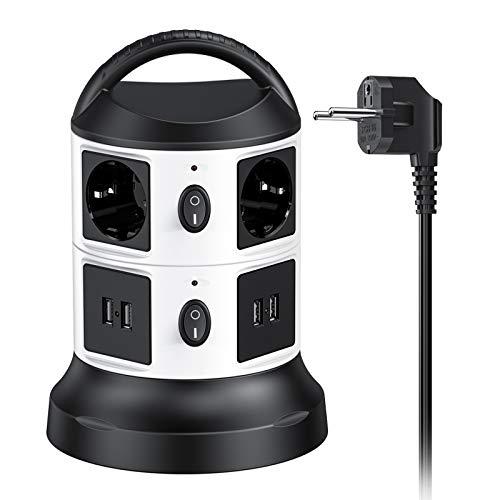 Tour-Multiprise-Parasurtenseur-Parafoudre-avec-6-Prises-Electrique-et-4-Ports-USB-Bloc-USB-Multiprise-avec-Interrupteur-3m-Extensible-Cble-2500W10A-Multiprises-Parafoudre-avec-Poigne-Portable-0