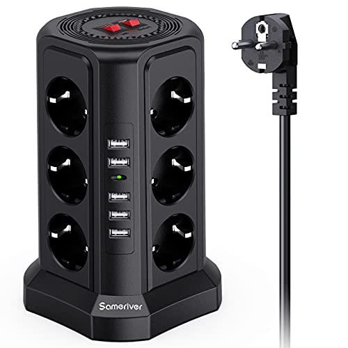 Sameriver-Tour-Multiprise-Multi-Prises-lectriques–12-Prises-et-5-Ports-USB-2500W10A-Multiprise-Pare-Foudre-avec-Cble-5M-et-2-Interrupteurs-Protection-Contre-Les-Surcharges-0